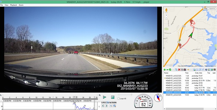 DBC-Pro Driver body worn personal video recorder police body camera sample screenshot Driving sample Route Start & Finish