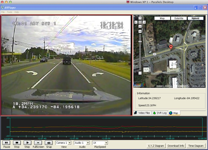 Forward facing cam 2 G-Sensor Google mapping