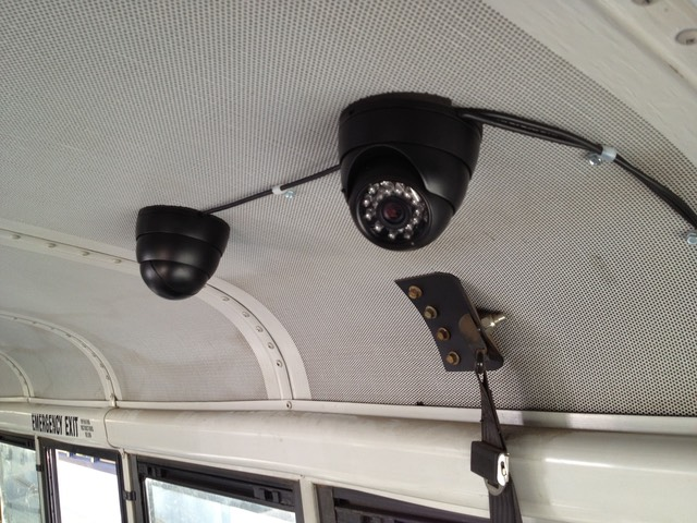 Senior Shuttle camera transportation security camera system cameras roof mount exposed cables per customer request