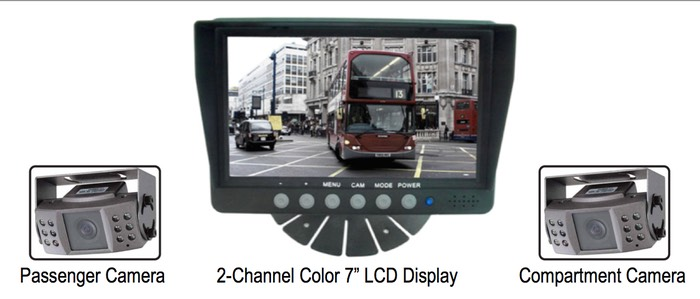 Low cost LCD passenger compartment vehicle camera system LCD display, for passenger safety monitoring  camera application SiteVer