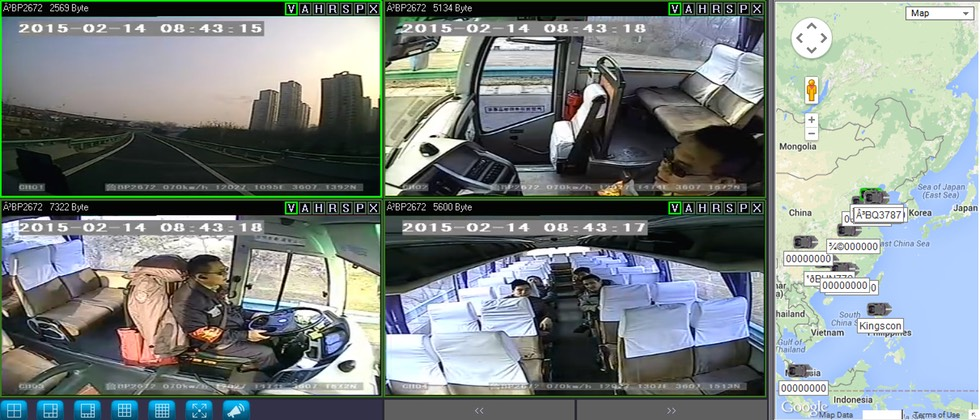 SD4C Live View 3G video streaming public transit bus surveillance camera system Quad view with map 2 copy