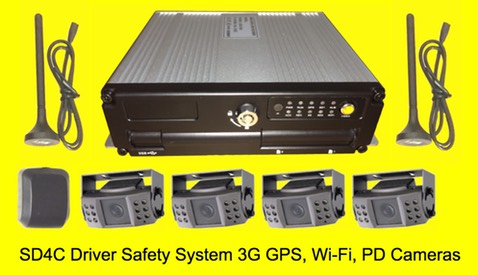 SD4C System w:PD Cameras Live View , Live GPS tracking passenger transportation surveillance security cameras system