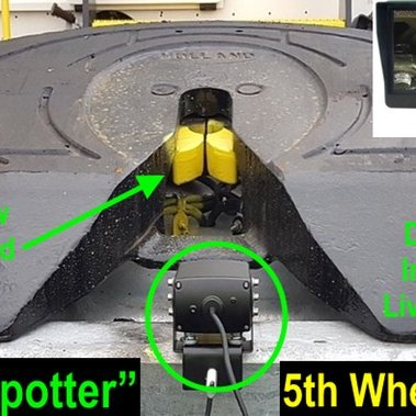 5th Wheel Driver Safety Camera with Text And LCD   Yard truck trailer switcher Driver Safety 5th wheel King Pin Camera Driver Live View 5th Wheel Camera Display image showing;   5th Wheel Driver Safety Camera with Text And LCD view of King Pin to permit visual verification of safe King-pin lock and help prevent trailor rollover.    Regardless of the name used to describe the operation of moving one tractor trailer to another vehicle, the switcher operator must have a good understanding of the basic equipment used in the operation, including:  5th wheel locking trailer   5th wheel locking jaws   Switcher truck with 5th wheel  King Pins   King Pin locking jaws
