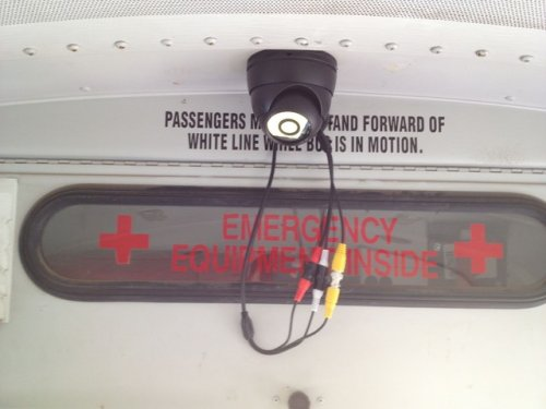 Alternative School Bus Security Camera system tape connectors and leave service loop