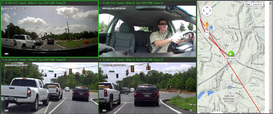 FHD4 High Definition 1080p Mobile Video Driver Safety Passenger Surveillance License Plate Capture with 4-Cam, GPS, Street Mapping